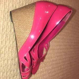 Ralph Lauren Pink Patton Leather Wedges